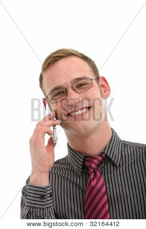 Smiling Man Talking On A Mobile Phone