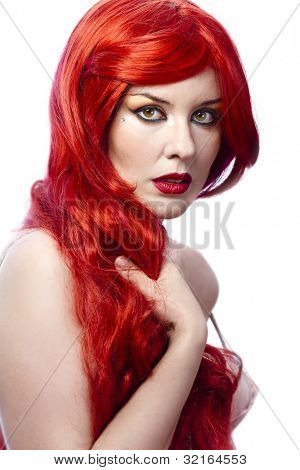 Closeup portrait of a beautiful spanish young woman with elegant long red shiny hair , hairstyle , isolated on white background , healthy straight hair
