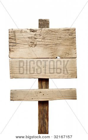 Wood sign against a white background