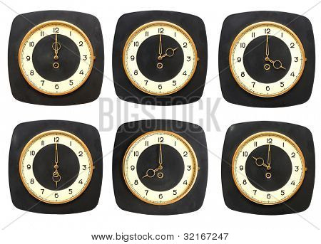 Collection old clocks wall on white background. Timezone clock