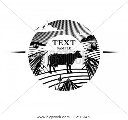 Rural landscape with cow stands on field under cloudy sky. Engraving style