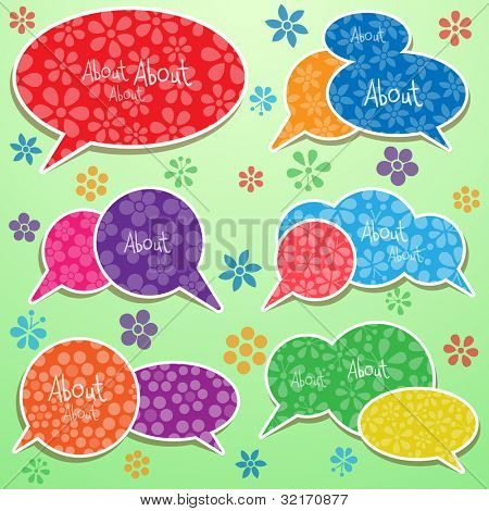 Speech bubbles set with flowers, vector