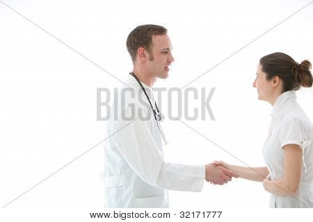 Doctor Shaking A Colleagues Hand