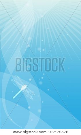Blue Abstract Background With A Dragonfly