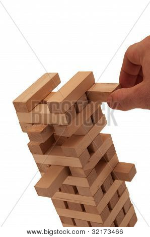 Unstable wood brick tower