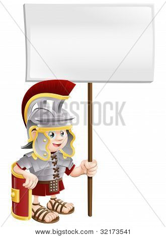Cute Roman Soldier Holding Sign Board