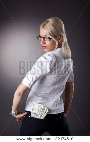 sexy business woman offer a money