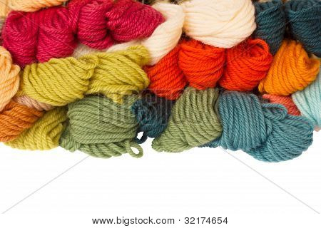 pile of woolen yarns
