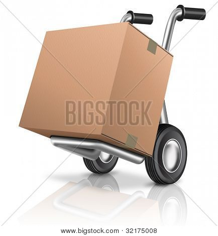 cardboard box on sack hand truck with copy or empty space isolated on white concept for online internet web shop or storage and moving or relocation box
