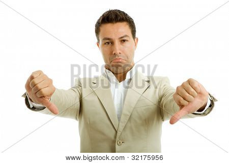 young casual man going thumbs down, isolated on white