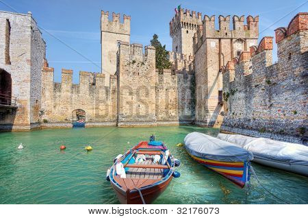 Medieval castle on Lake Garda in Sirmione, Northern Italy.