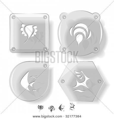 Animal icon set. Deer, bird, bee, fish.  Glass buttons. Vector illustration. Eps10.