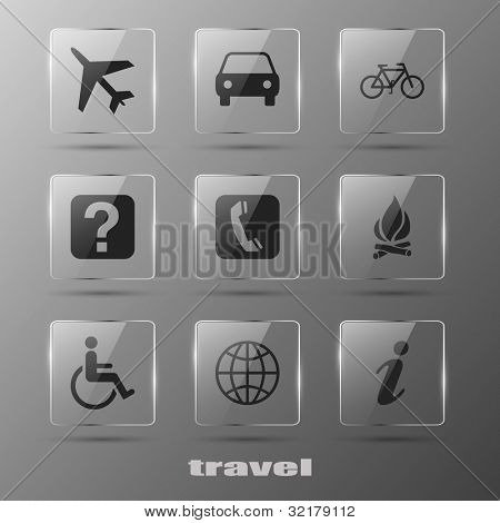 Realistic glass travel  icons. eps10