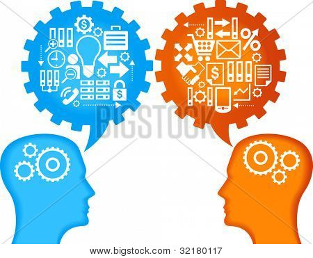 the concept of business relations between people. the silhouettes of the human head, speech bubbles in the form of gears and business icons