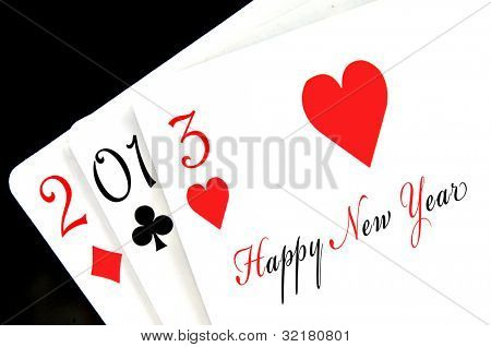 happy new year 2013 written in playing cards
