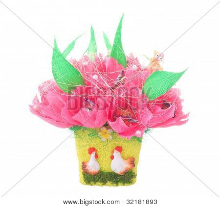 Paper Artificial Flowers With Candy, Isolated On White