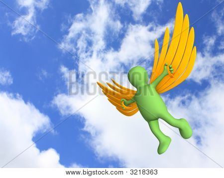 3D Person, Flying On Artificial Wings