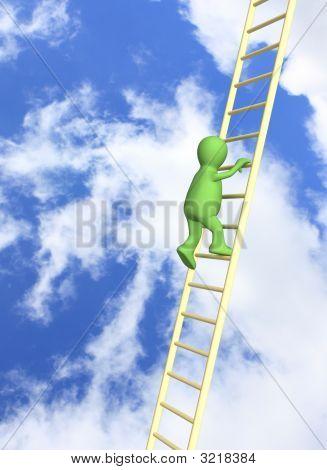 3D  Puppet, Rising Upwards On A Ladder
