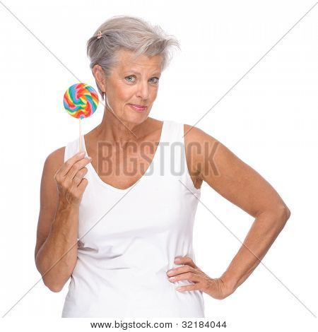 Full isolated portrait of a senior woman with lolly