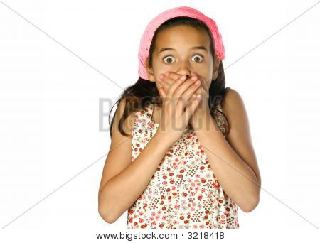 Young Girl Shock Both Hands Covering Her Mouth