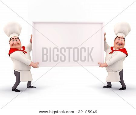 Happy chef holding sign
