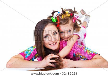 Happy mother and daughter, lying