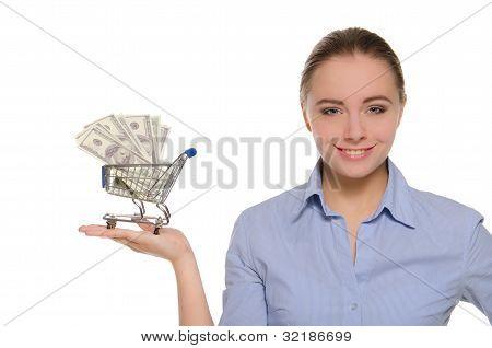 Woman With Dollar Bills In Shopping Trolley