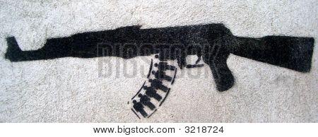 Gun And Men Grafitti Stencil