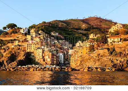 Sunset In The Village Of Riomaggiore In Cinque Terre, Italy