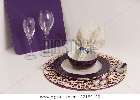 Table Setting and Wine Glasses