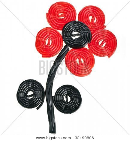 Flower made of liquorice spiral candies on white background
