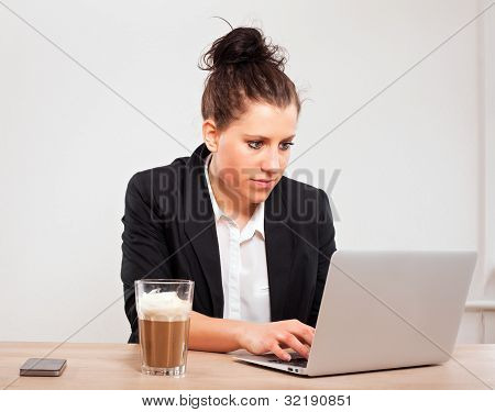 Busy Executive Using A Laptop