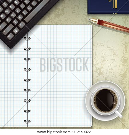 Office Desk With Keyboard Coffee And Notepad