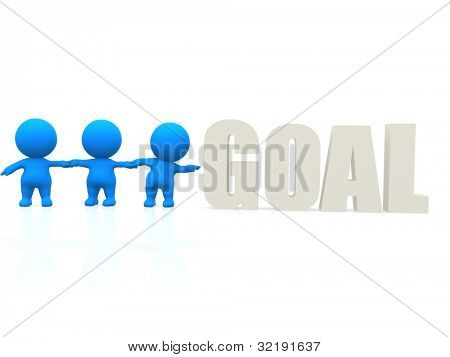 3D men trying to reach the word goal - isolated over a white background