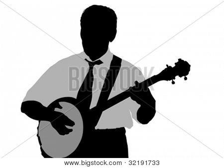 Vector drawing young man whit banjo