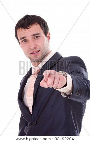 Homem de negócios jovem no fundo branco