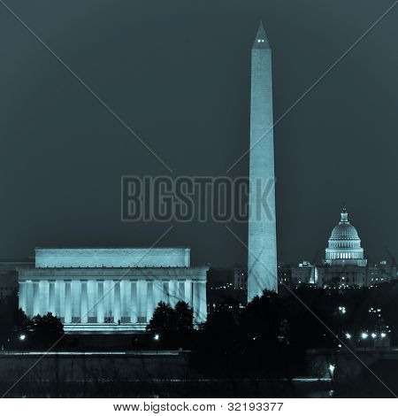 Washington DC city view  including Lincoln Memorial, Monument and Capitol building