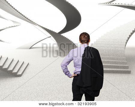 homem de pé e mundo abstrato 3d