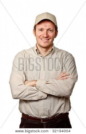 portrait of happy worker on white