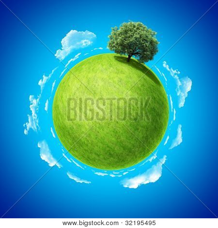 Mini planet concept. Empty space on fresh green field and sole standing dense tree. Place for your text, product or logo. Earth collection.