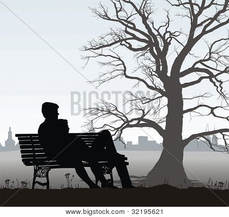 The young man and girl on bench