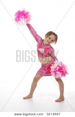 Cheerleader Girl With Pompoms