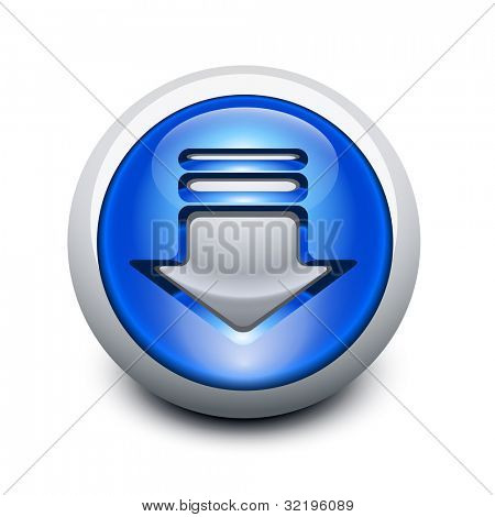Glassy button with download arrow