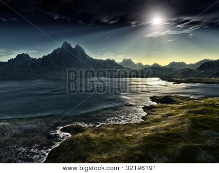 An image of a dark fantasy landscape