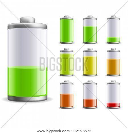 Battery charge status vector illustration. EPS10 file.