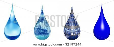High resolution set,group or collection of concept or conceptual blue water or liquid drops isolated on white background,for nature,clean,wet,rain,purity,splash,fresh,spring,summer,eco or environment