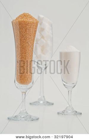 Zucker in Glas
