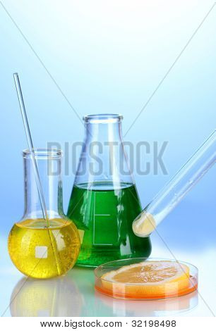 Genetically modified food on blue background