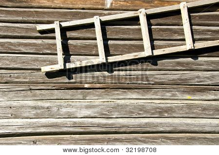 Background Retro Log House Wall Wooden Ladder Hang