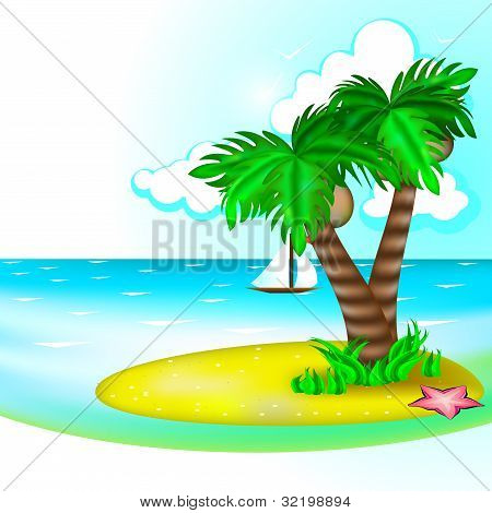 Sea With Ship And Palm Trees